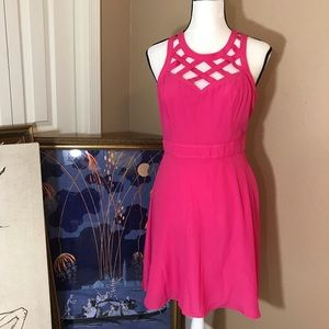 Hot pink guess cage neckline party dress euc sz 6